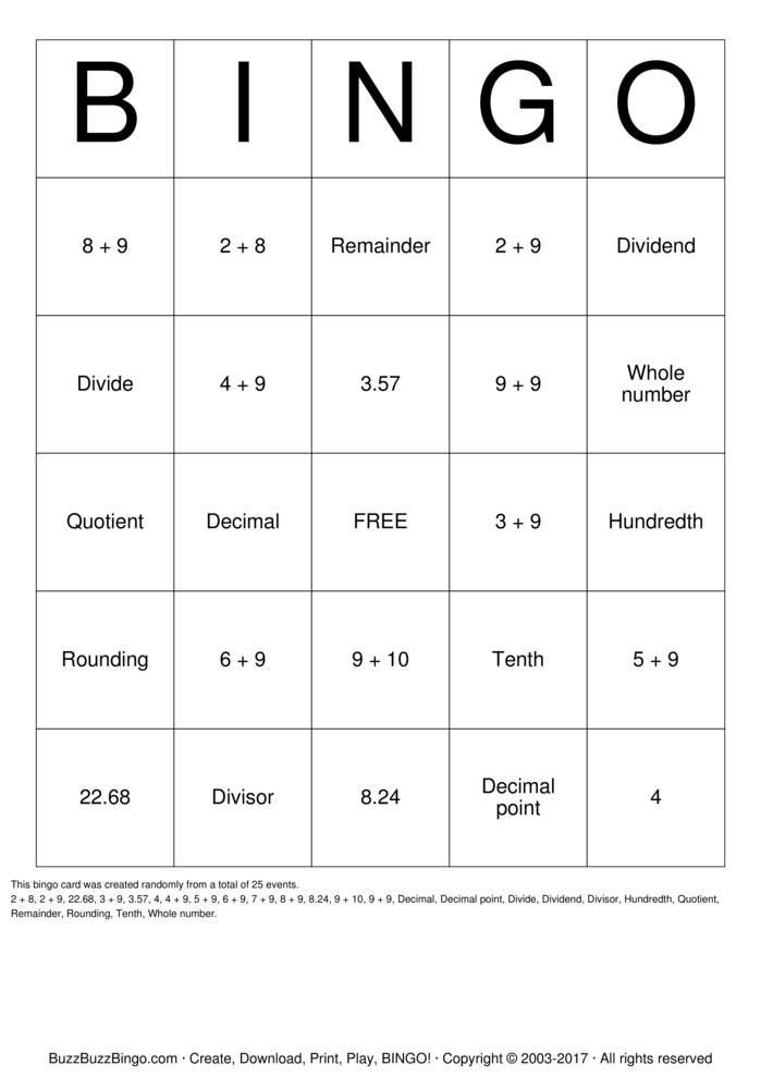 Download Dividing Decimals Bingo Cards