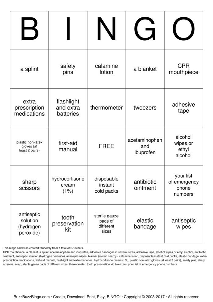 Download First Aid Kit Bingo Cards