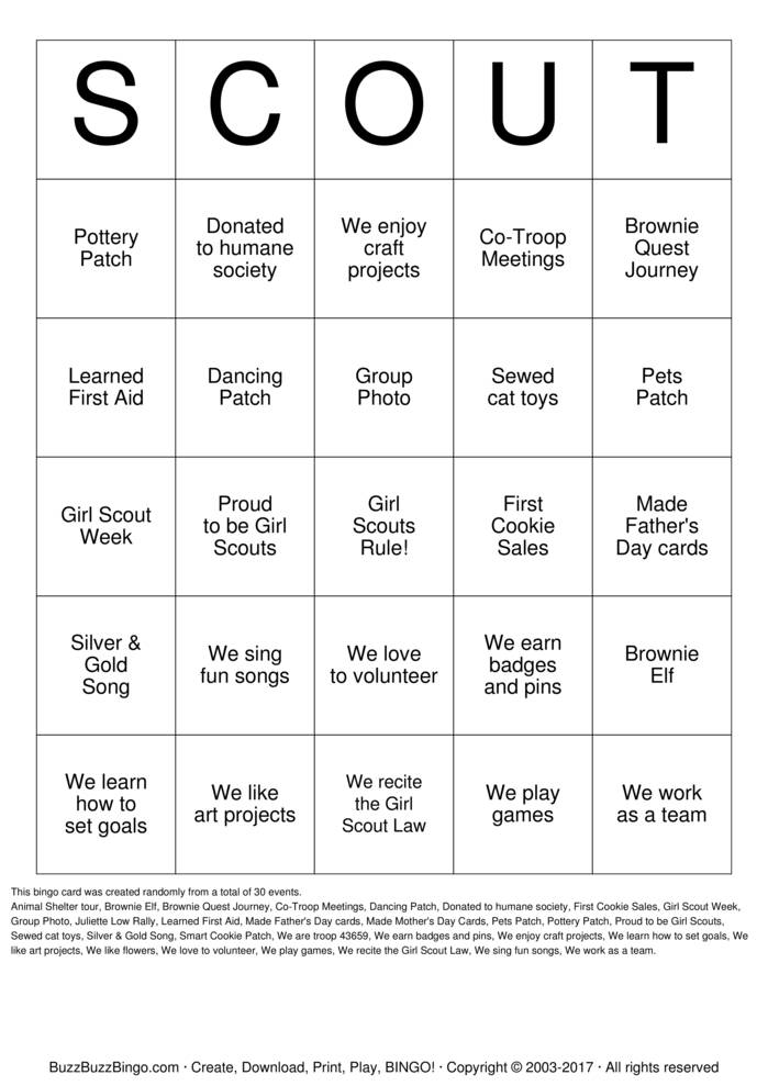 girl scout bingo cards to download print and customize