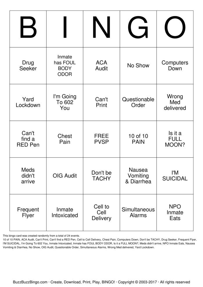 Download 2016 PVSP NURSE BINGO Bingo Cards