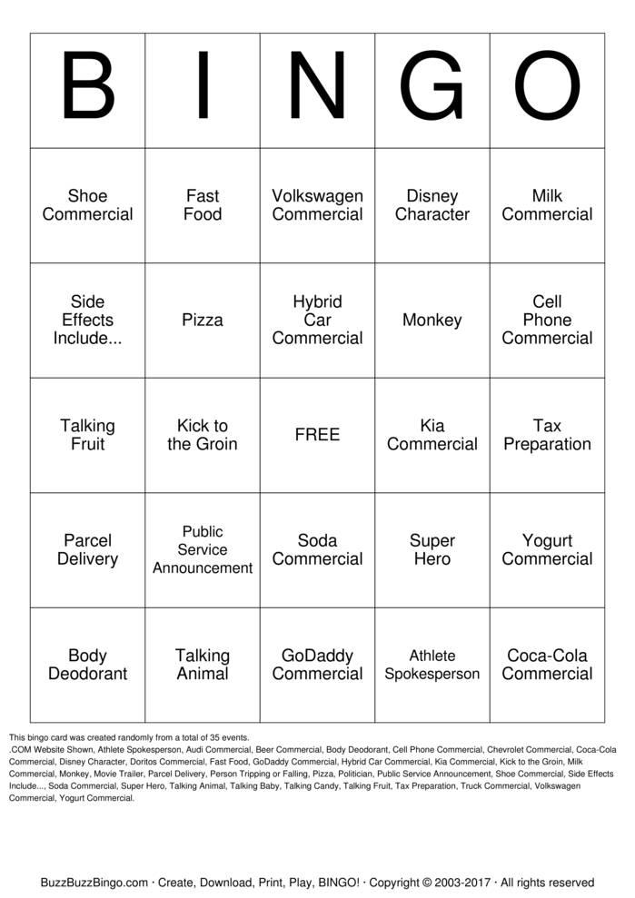 2015 Superbowl Commercials Bingo Cards to Download, Print ...