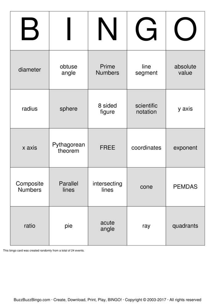 Download 8th Grade Math Bingo Cards
