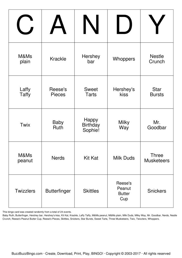 candy bingo cards to download  print and customize
