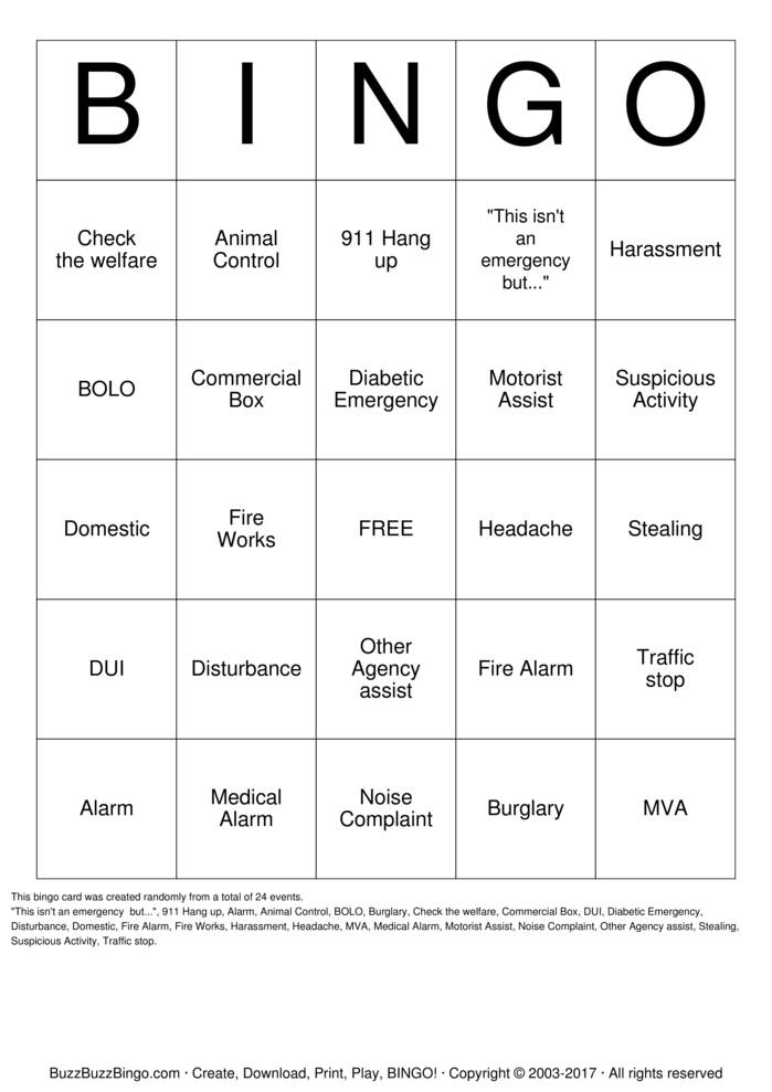 Download Dispatch Bingo! Bingo Cards