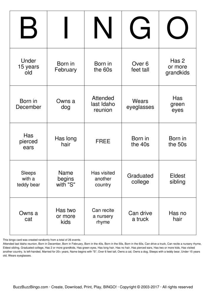 Herzinger Reunion Human BINGO Bingo Cards To Download Print And Customize