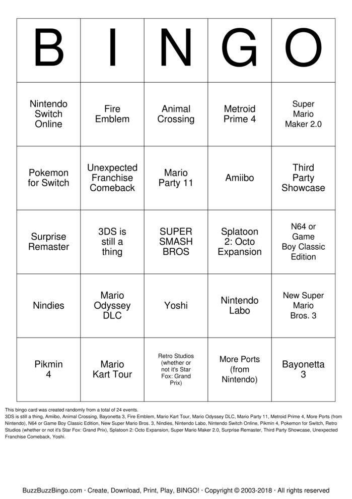 Download Nintendo E3 2018 Bingo Cards