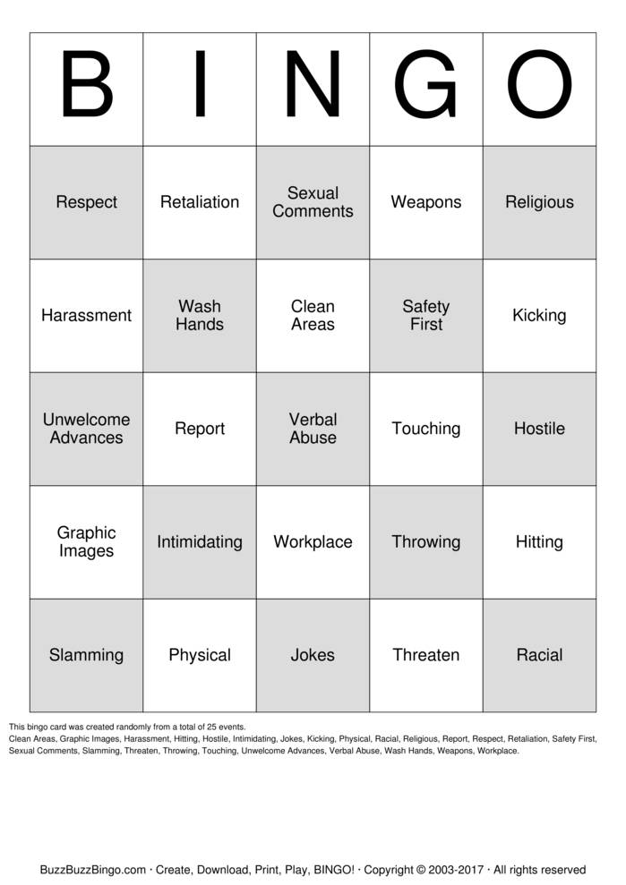 Download safety harassment Bingo Cards