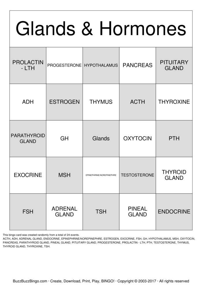Download Endocrine System Bingo Cards
