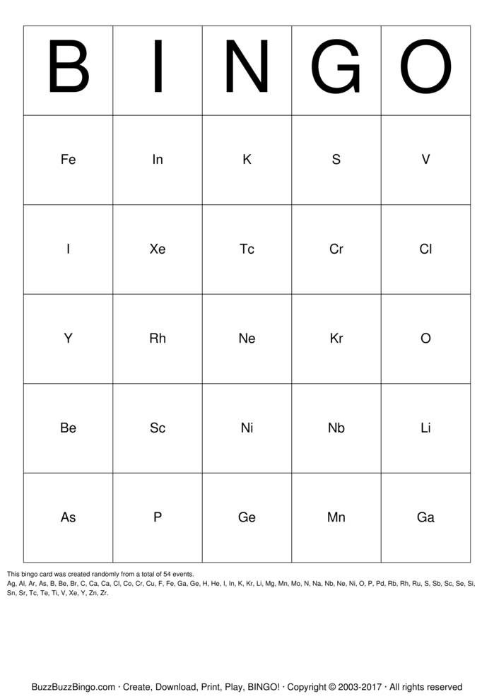 Periodic table bingo cards to download print and customize for Periodic table 6 mark question
