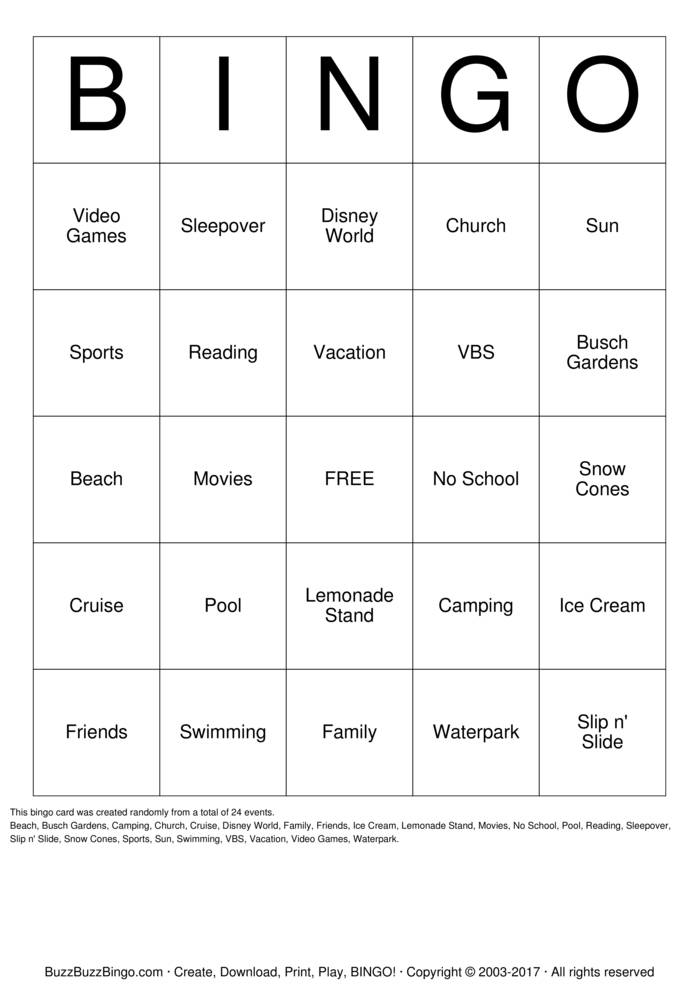 Download The Best Summer  Bingo Cards