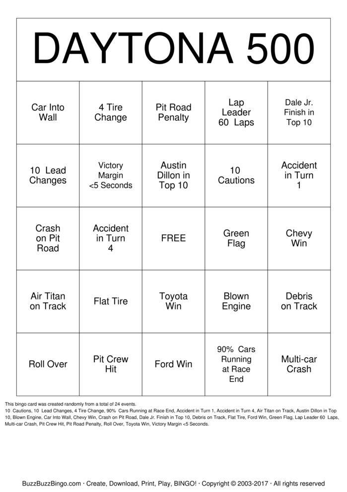 Download DAYTONA 500 Bingo Cards