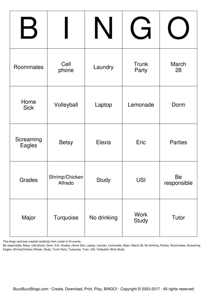 Download Elexis's Trunk Party Bingo Cards