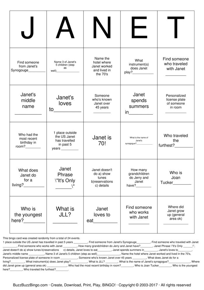 Download JANET Bingo Cards