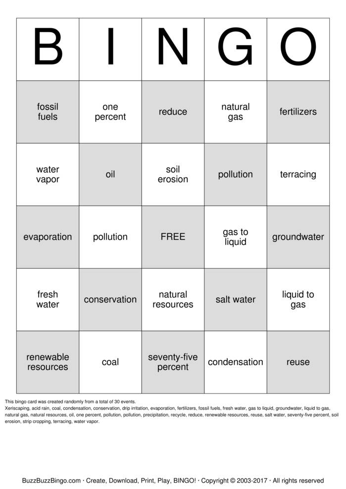 Natural Resources Bingo