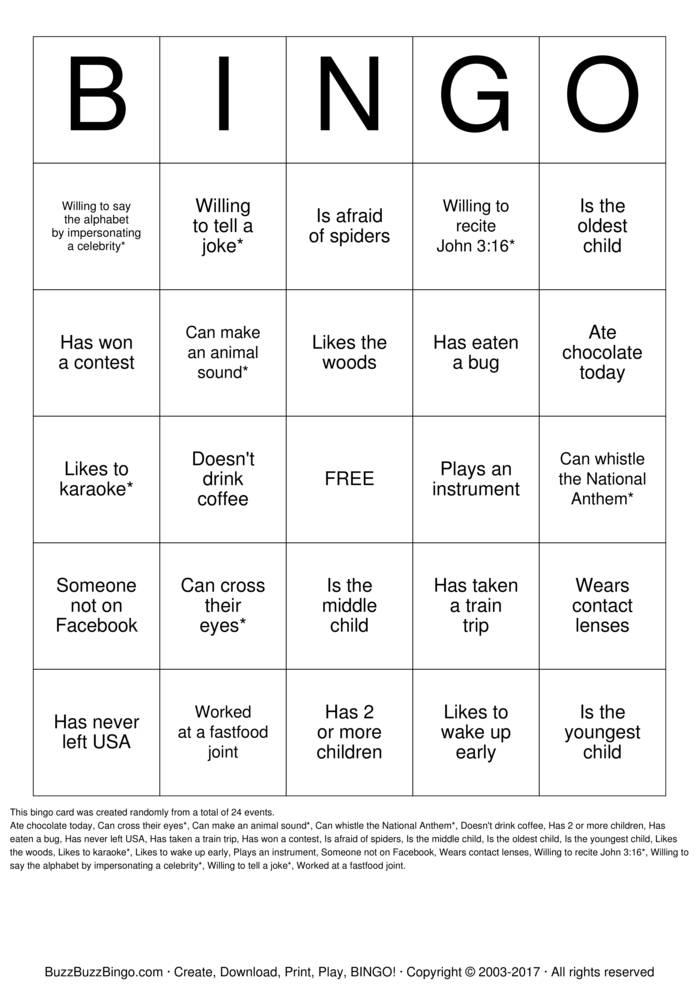 Download People Bingo Bingo Cards