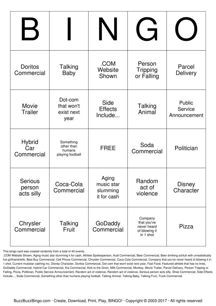 Download Superbowl Commercials Bingo Cards