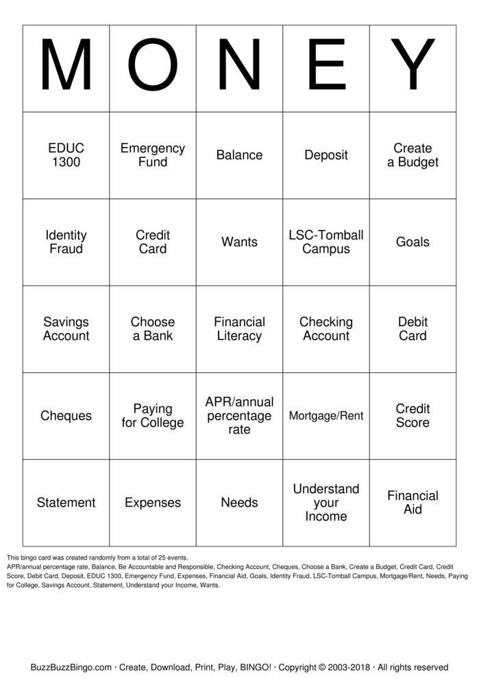 Download Financial Literacy Bingo Cards