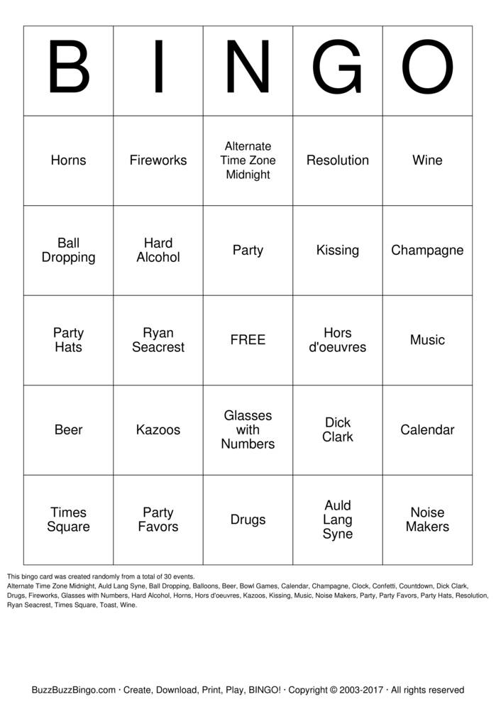 Download New Years Bingo Cards