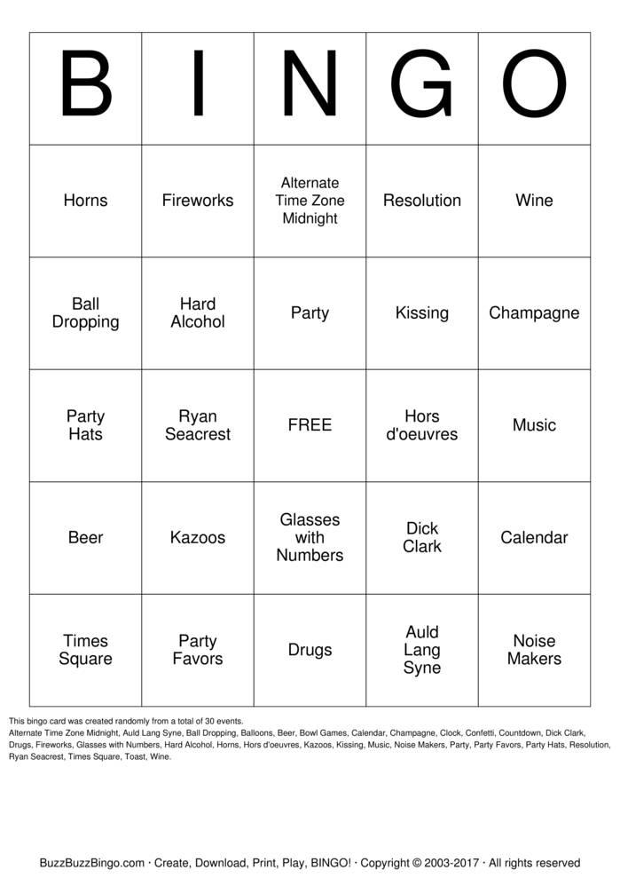 New Years Bingo Card
