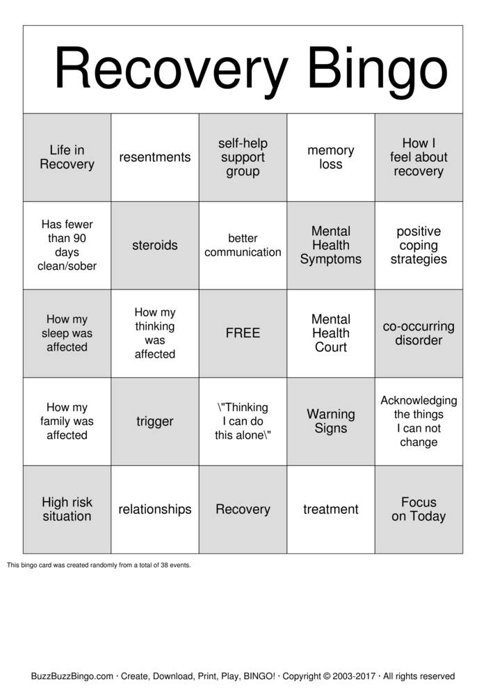 Download Recovery Bingo Cards