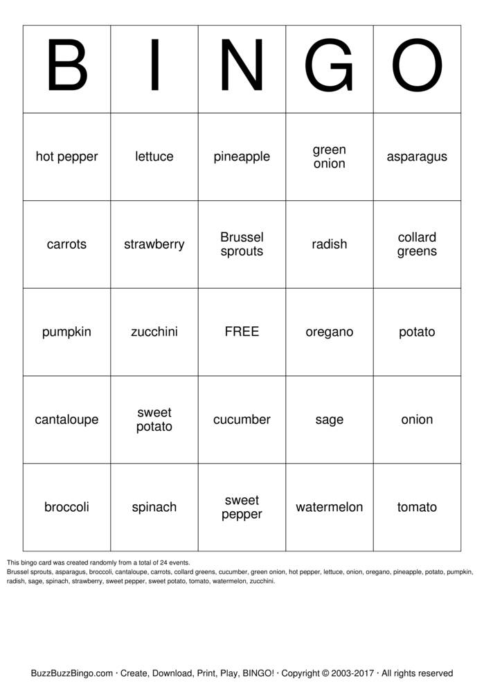 Download fruit and vegetable garden Bingo Cards