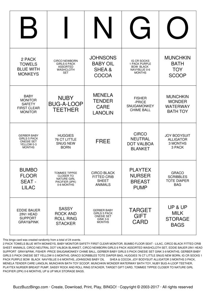Baby Girl Howard Bingo Cards To Download Print And Customize