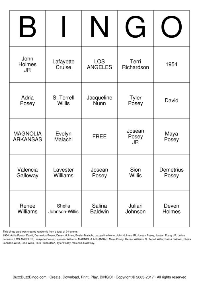 Download CUMMINGS FAMILY Bingo Cards