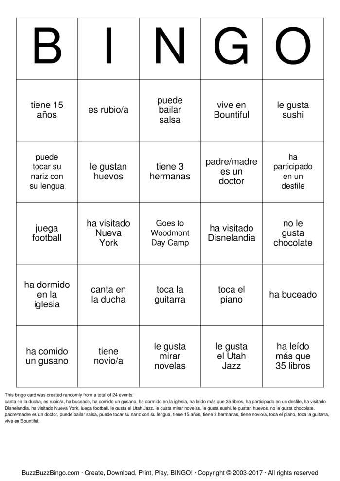 Download HUMAN BINGO Bingo Cards