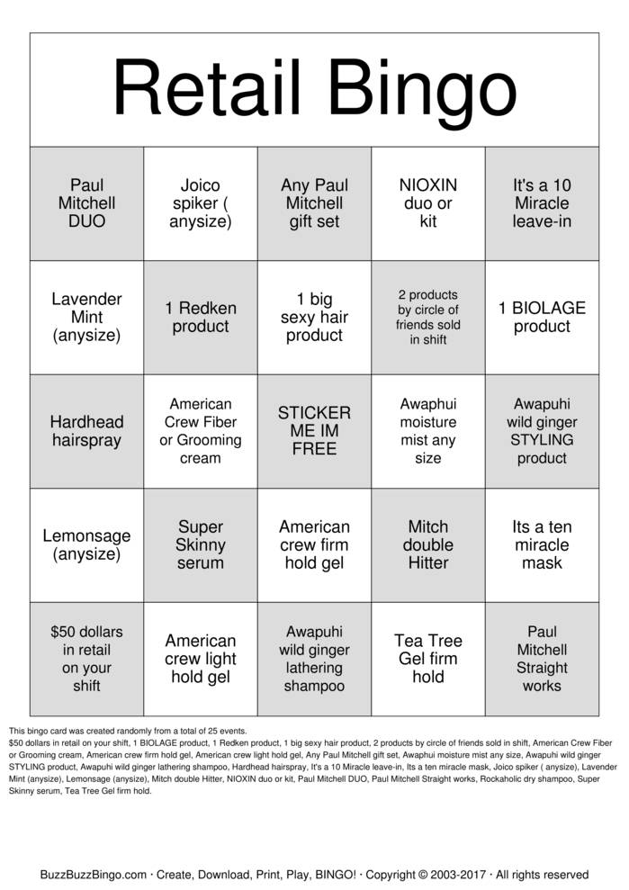 Download Retail  Bingo Cards