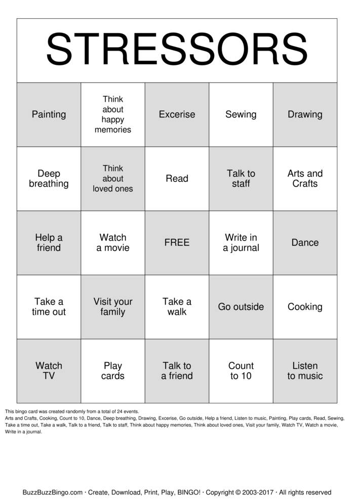 Relapse Prevention Bingo Cards To Download Print And