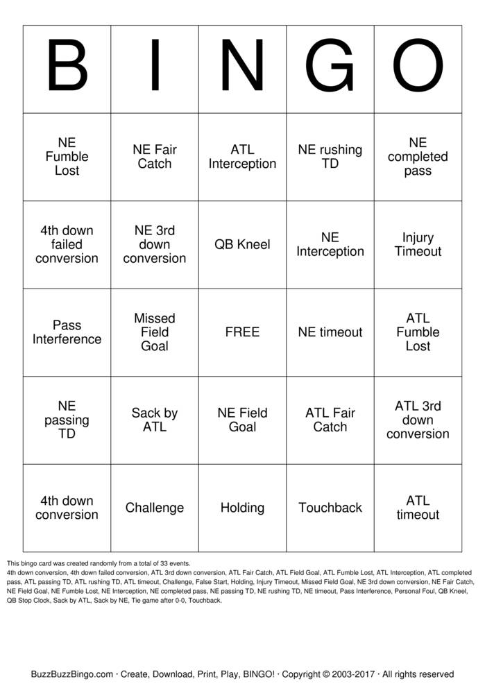 Download 2017 Superbowl NE vs ATL Bingo Cards