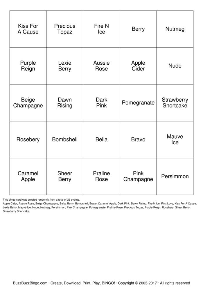 Download LipSense BINGO Bingo Cards