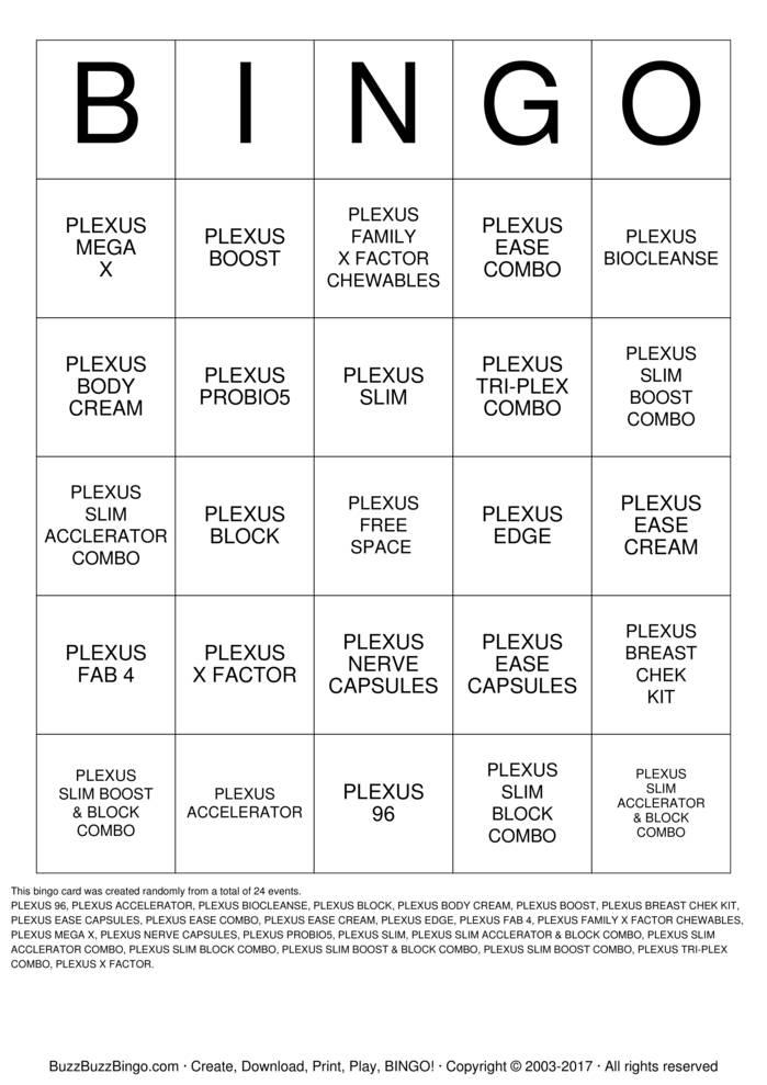 Plexus Bingo Bingo Instructions