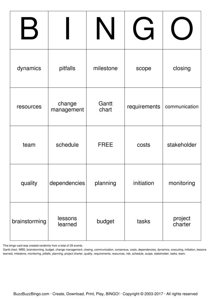 Download Project Management Bingo Cards