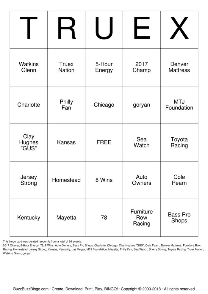 Download TRUEX Bingo Cards