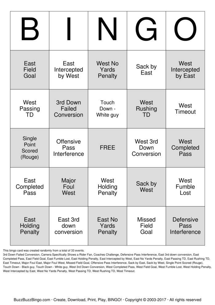 Download Grey Cup Bingo Cards