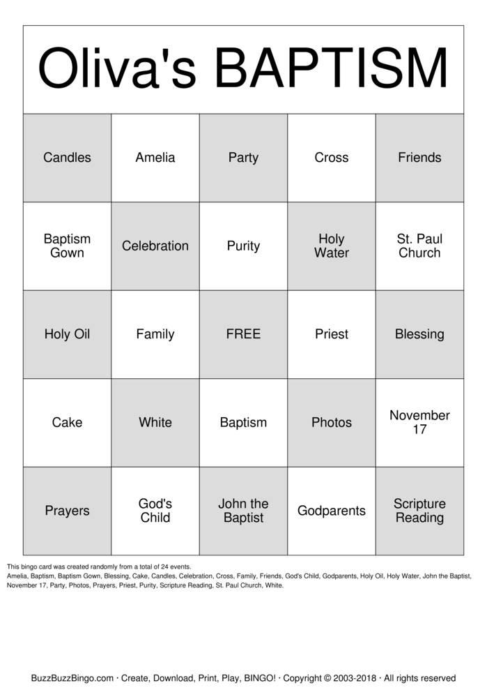 Download Oliva's Baptism Bingo Cards
