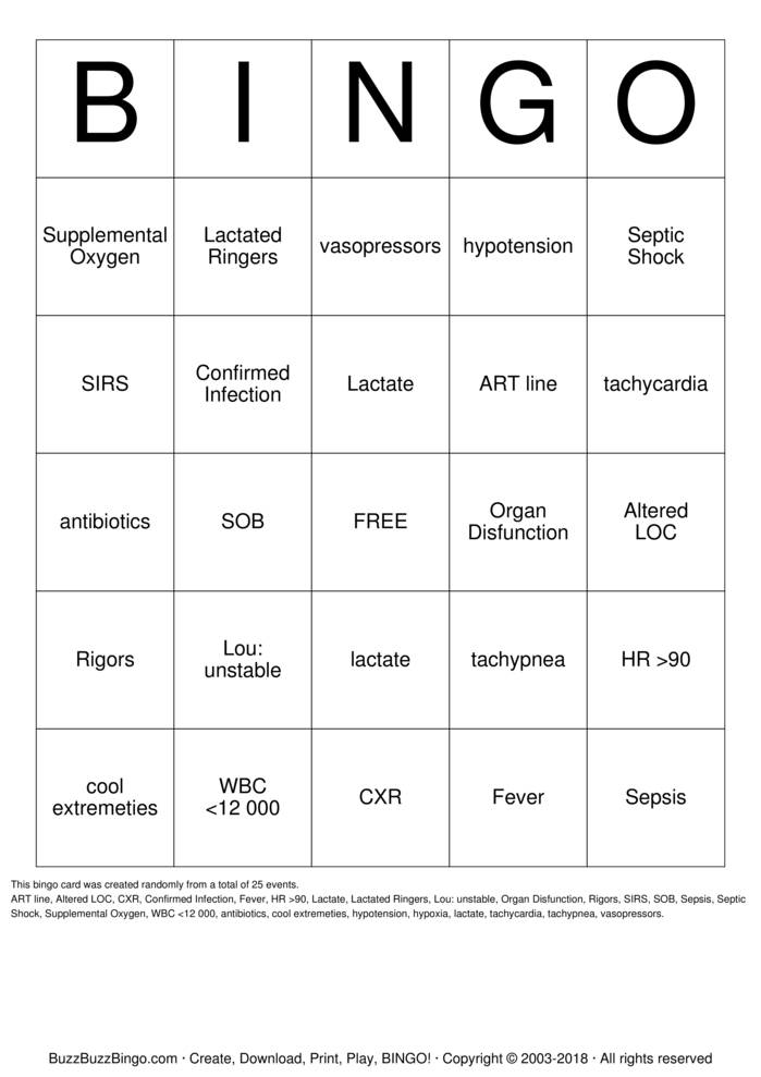 Download SEPSIS Bingo Cards