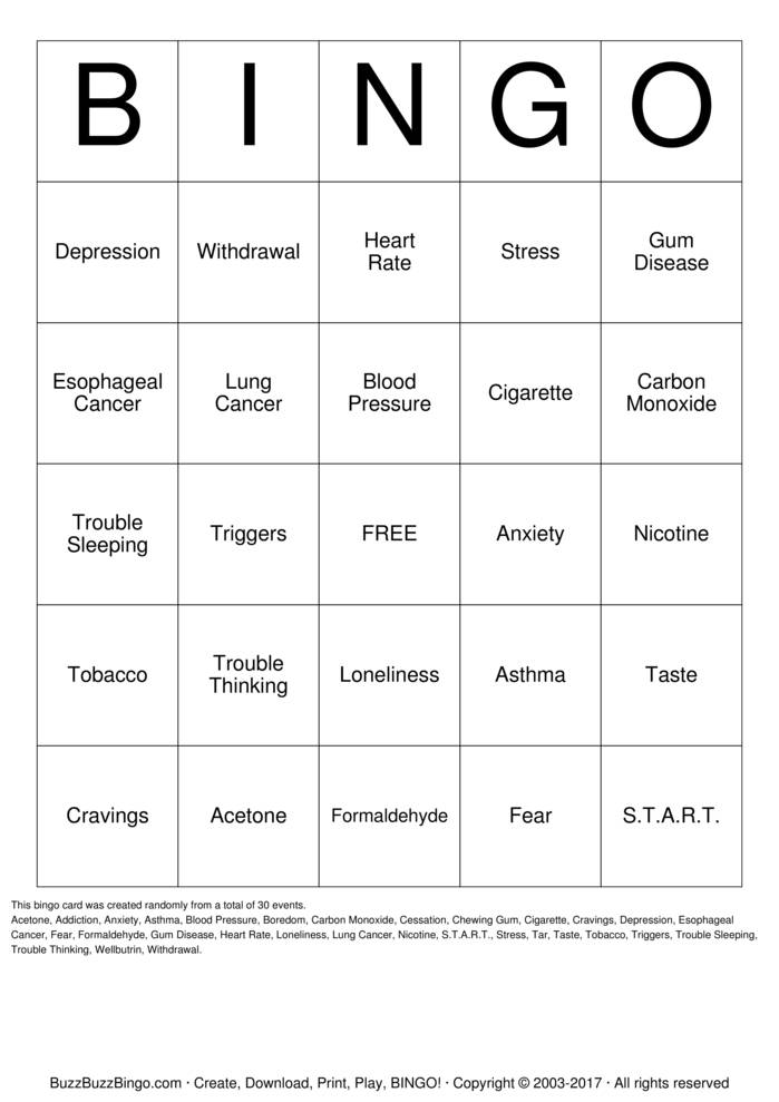 Download Smoking Prevention Bingo Bingo Cards