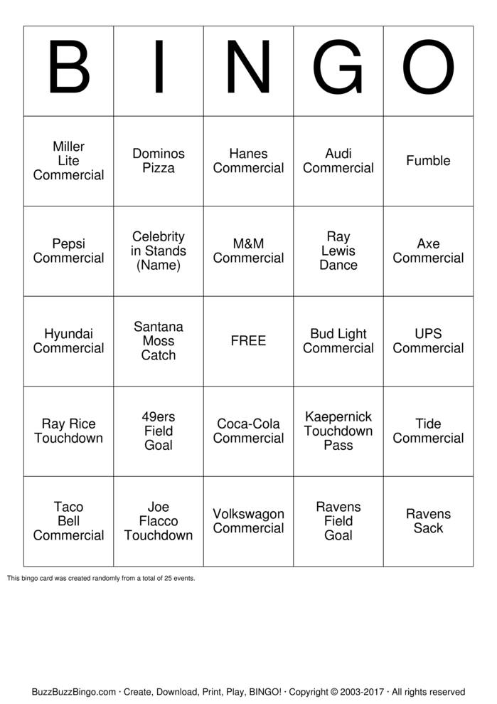 2013 Superbowl Commercials Bingo Cards to Download, Print and ...