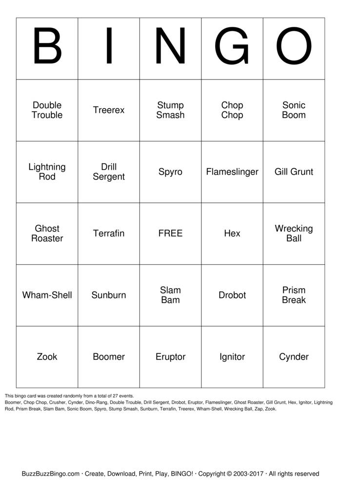 Skylanders Bingo Bingo Card