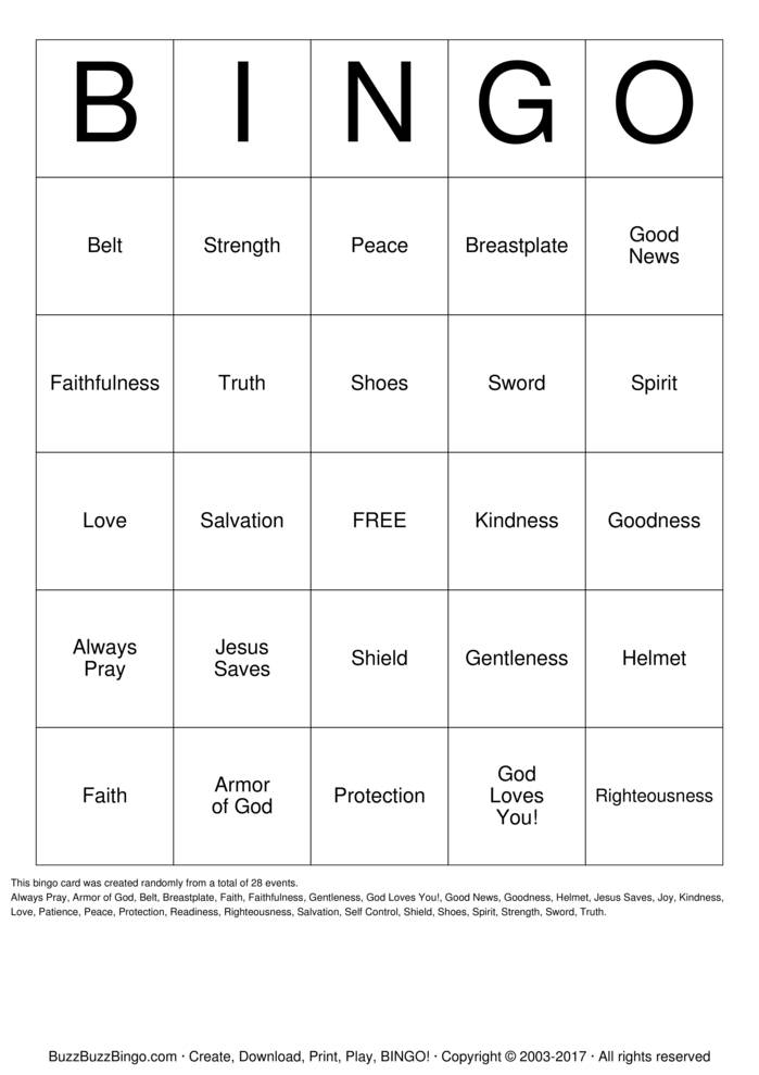 Download Armour of God Bingo Cards