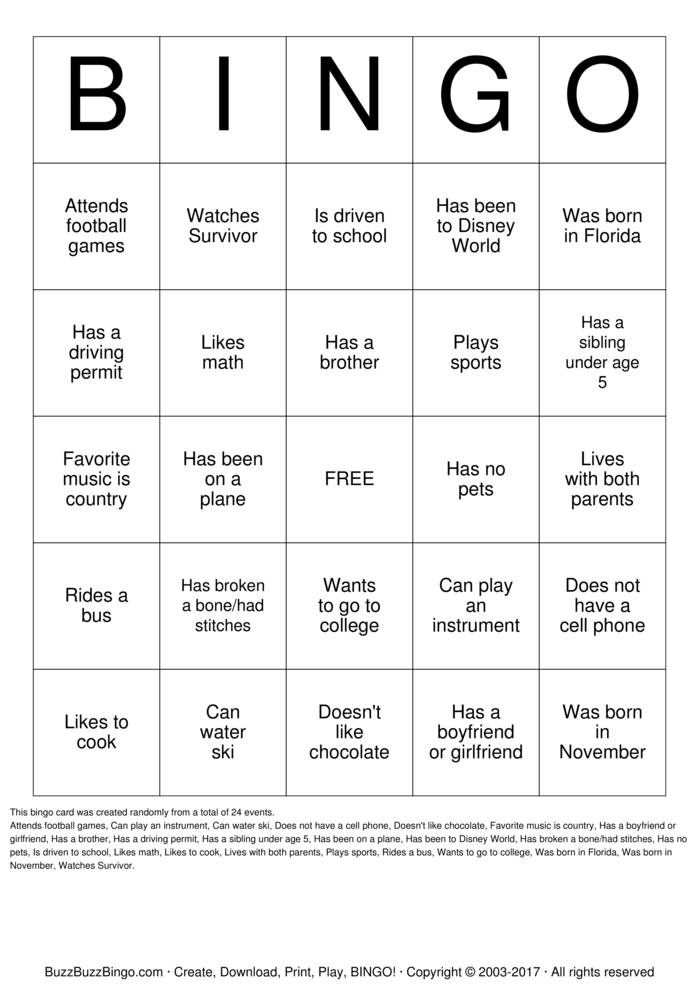 Download Get To Know You BINGO Bingo Cards