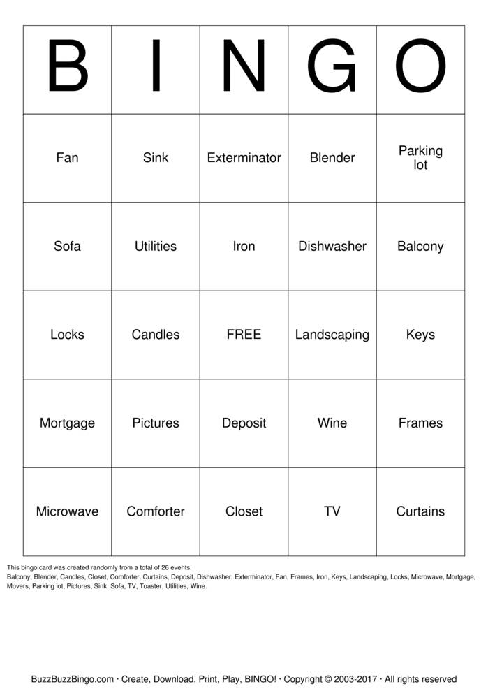 House Warming Party Bingo Card