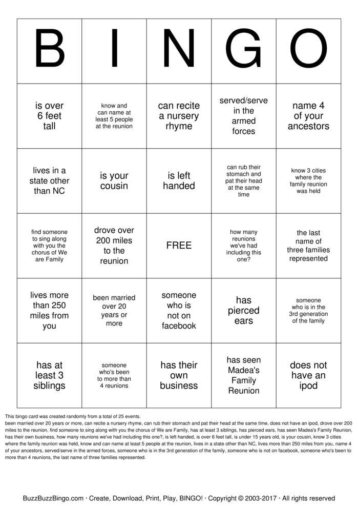 Download McCloud Robinson Family Reunion  Bingo Cards