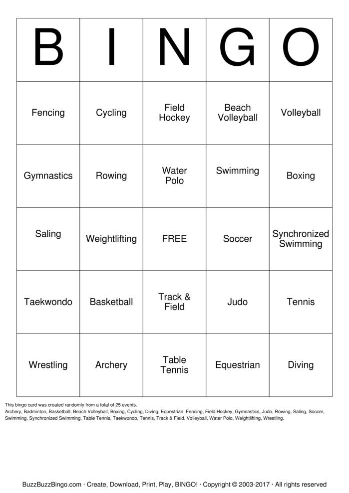 Download Olympic Sports Bingo Cards