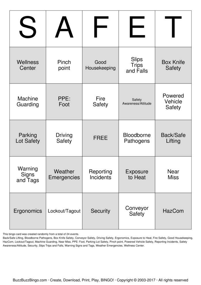 Download SAFE-T Bingo Cards