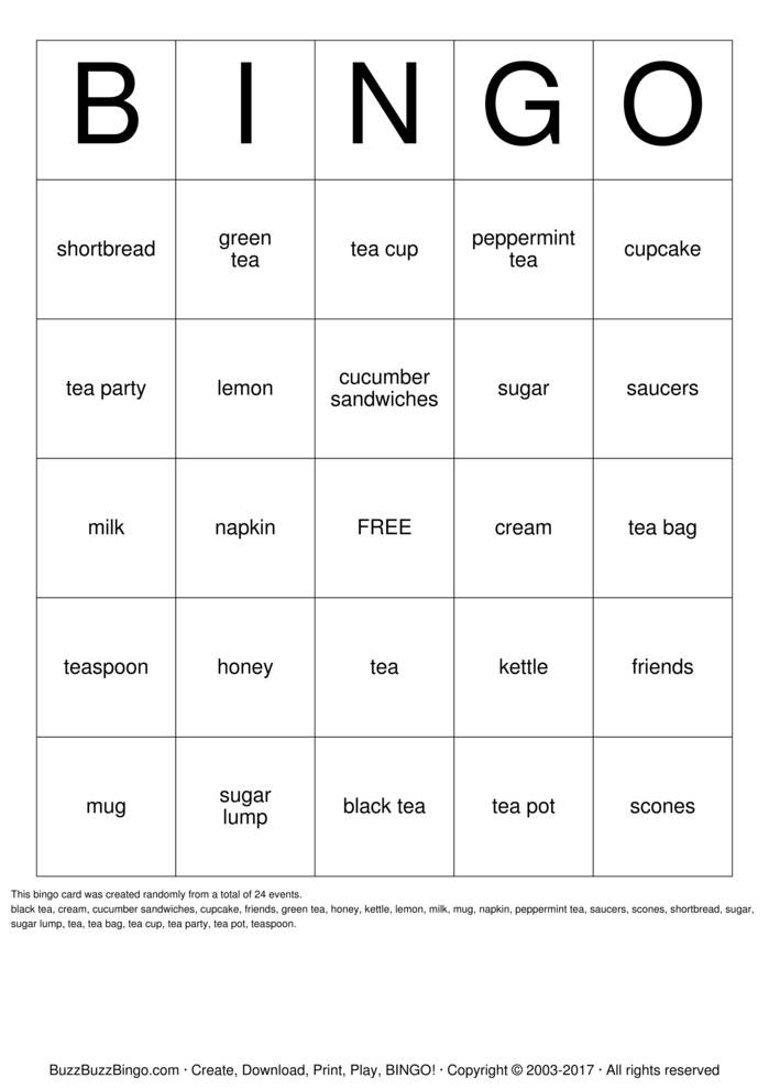 tea party bingo cards to download  print and customize