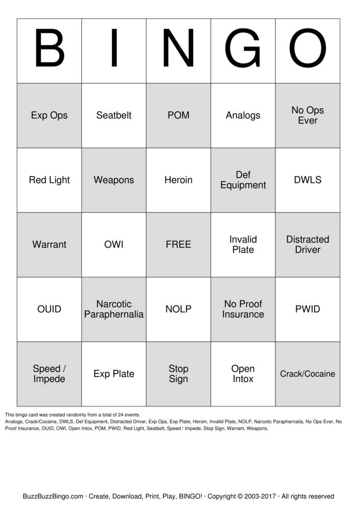 Download Traffic Stop Bingo Bingo Cards