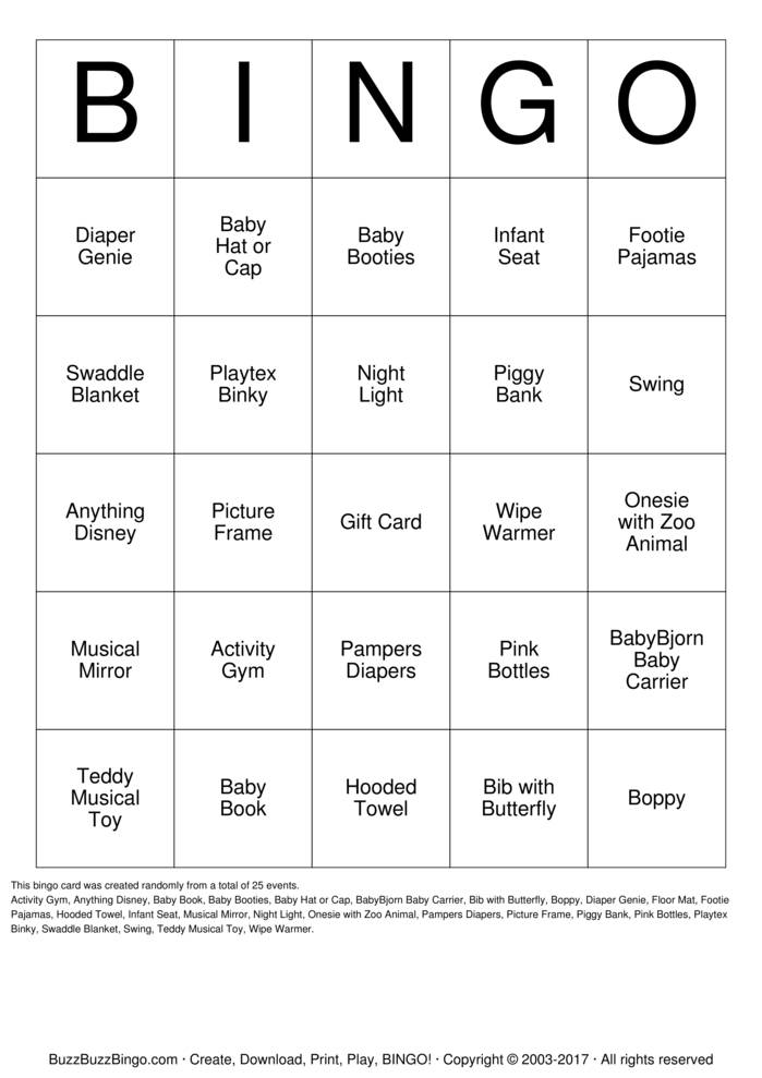 Download It's a Girl! Bingo Cards
